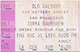 1978-08-31 Early Ticket