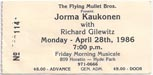 1986-04-28 Early Show Ticket