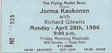 1986-04-28 Late Show Ticket